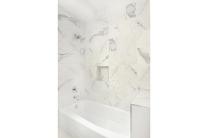 Italian marble ceramic tile bathtub shower.