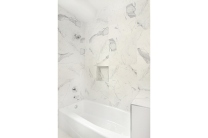 Italian marble ceramic tile bathtub shower.